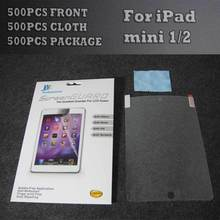 High Transparent Screen Protector For iPad mini 1/2 500pcs Front+ 500pcs Cloth+500pcs Retail Package Express Shipping(China (Mainland))