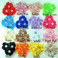 20pcs/Lot 8CM 16Colors Satin Ribbon Flowers Appliques Sunflower in Central Kids Baby Girl Toddler Infant Flower Headband Access(China (Mainland))