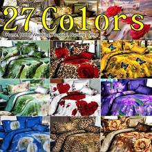 Promation! 3D Animals Bedding Set Pastoral Cheap Cotton Bed Linen Quilt / duvet Cover Sets Double Bed 4pcs  King Size(China (Mainland))