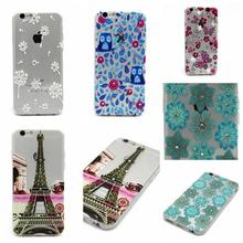 Tower Owls flowers Dandelion Pattern Luxury Clear Diamond Bling case For apple iphone6 iPhone 6 6S 4.7 inch TPU Soft back Cover