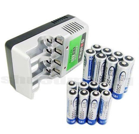 CHARGER+8 AA AAA NiMH Rechargeable Recharge Battery S029