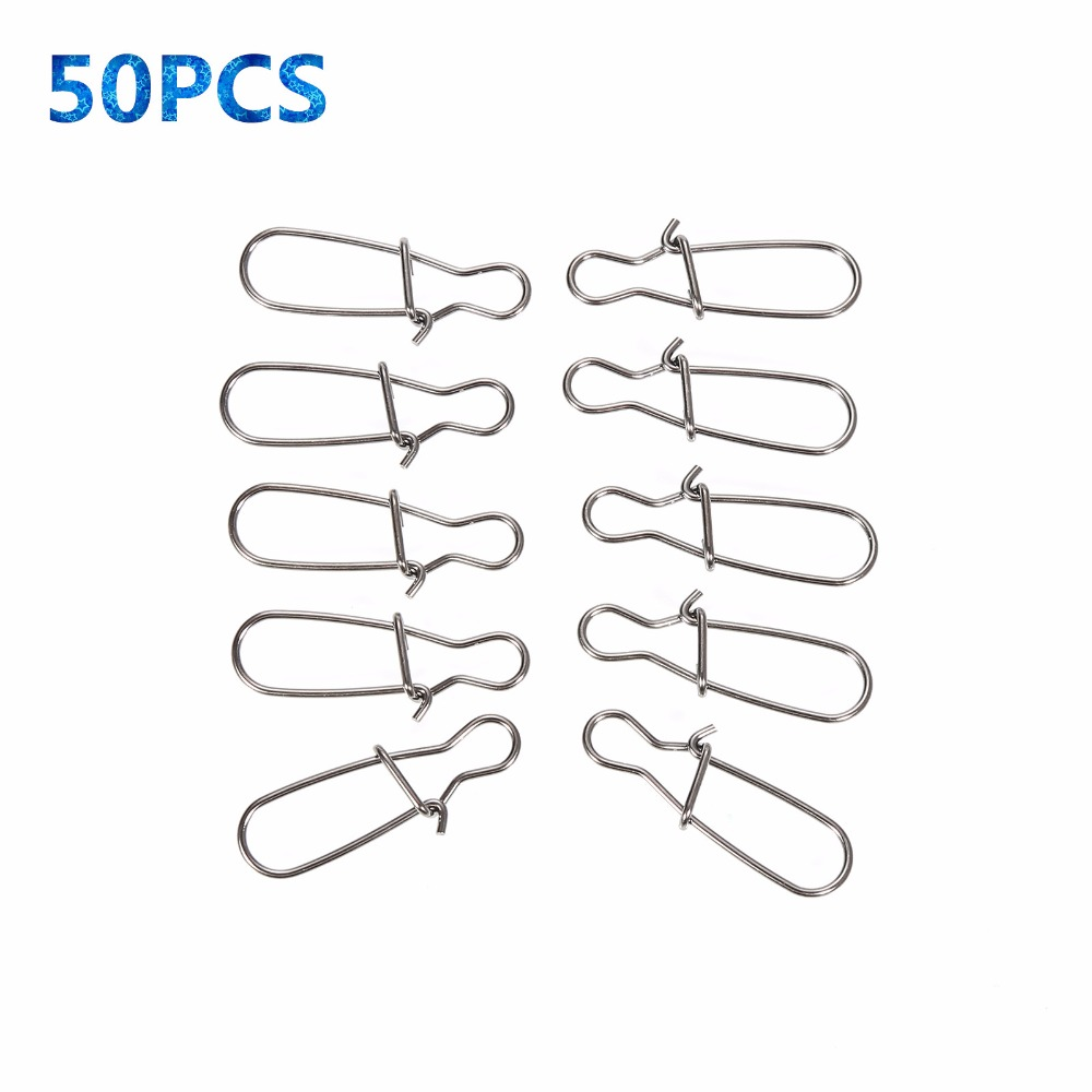 50PCS High Quality Stainless Steel Hook Lock Snap Swivel Solid Rings Safety Snaps Fishing Hooks Connector(China (Mainland))