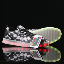 Remote Control Unisex Led Shoes 8 Colors LED Luminous shoes for Men Fashion Light UP LED Shoes plus size 35-46 free shipping(China (Mainland))