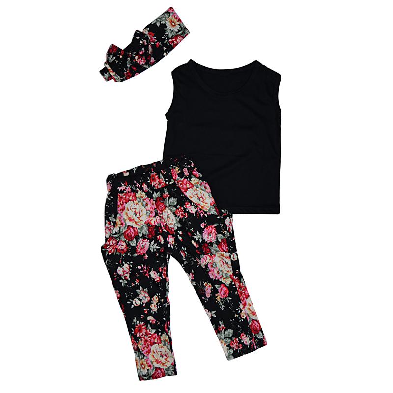 Summer Girls Clothing Sets Cotton Fashion Kids Clothes Flower Baby roupas infantis menina Children Costume 3pcs