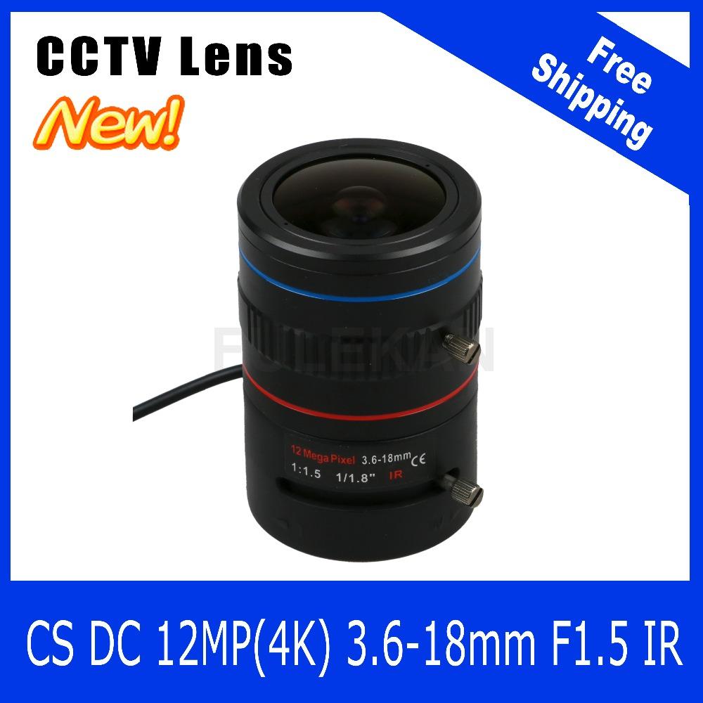 12Megapixel Varifocal CCTV 4K Lens 1/1.8 inch 3.6-18mm CS Mount DC IRIS For SONY IMX226/178 Box Camera/4K Camera Free Shipping(China (Mainland))