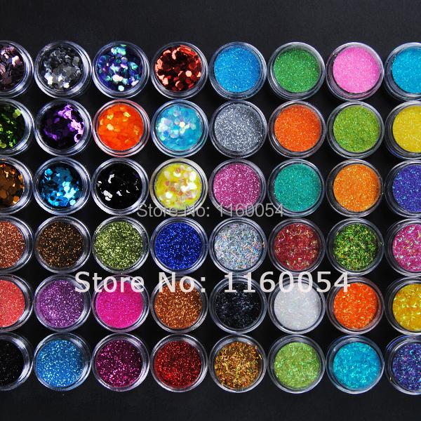 Free shipping 48 Color Metal Big Hexagon Strip Glitter Nail Art Powder Dust Polish Gem kit set 1017(China (Mainland))