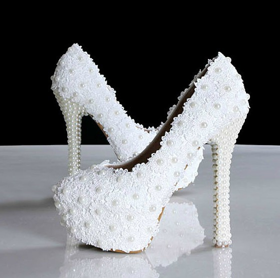 2014 new White lace flower pearl wedding shoes ultra high heels platform plus size elegant bridal