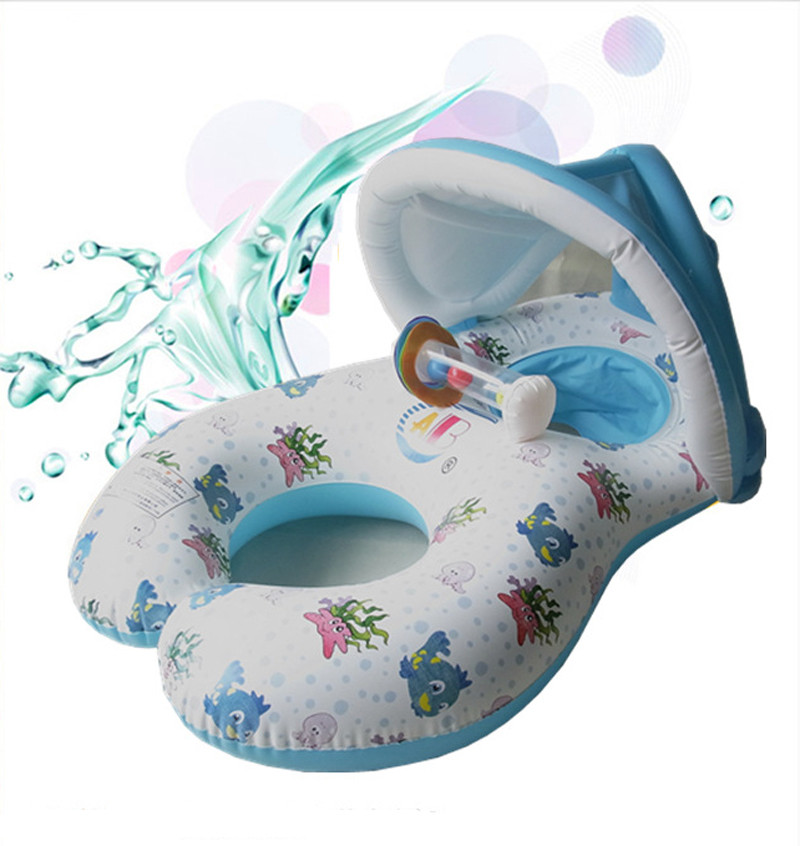 PVC Baby Swim Ring Sun Protection Inflatable Ring 0-3 yrs Mother Baby Double Pool Swim Float Best Swimming Pool Accessories(China (Mainland))