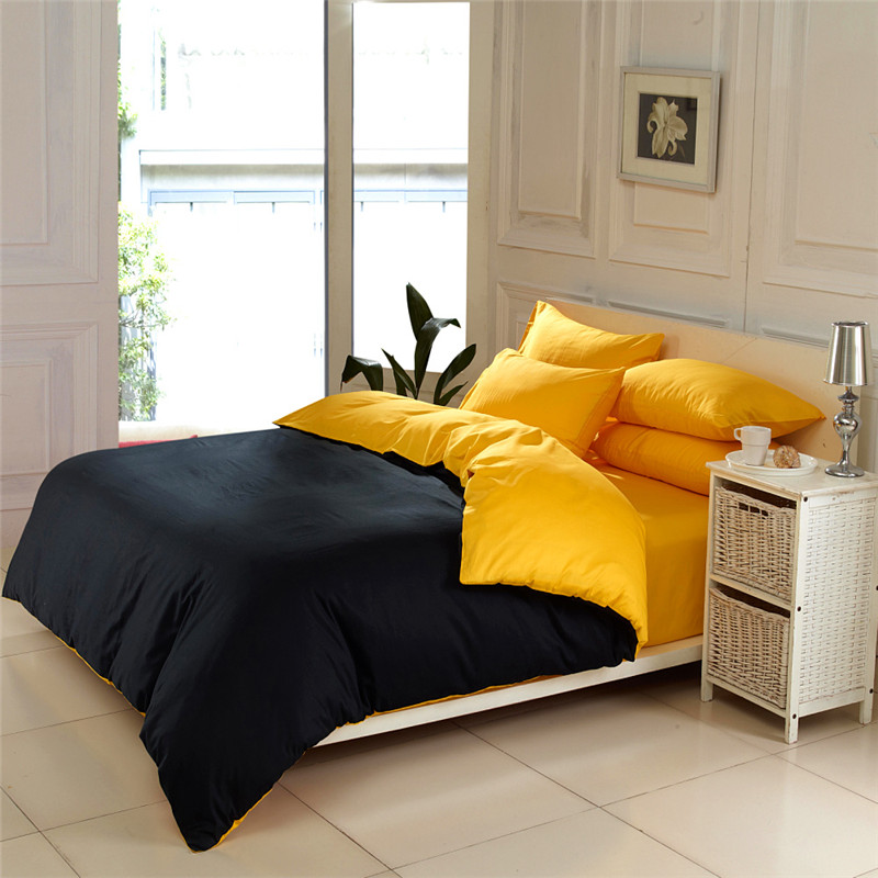 color home textile black and yellow 4pc queen king size bedding sets
