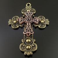 Vintage Style Bronze Copper Tone Alloy Double Cross Pendant Religion Charm 3pcs 36577 70*52*7mm