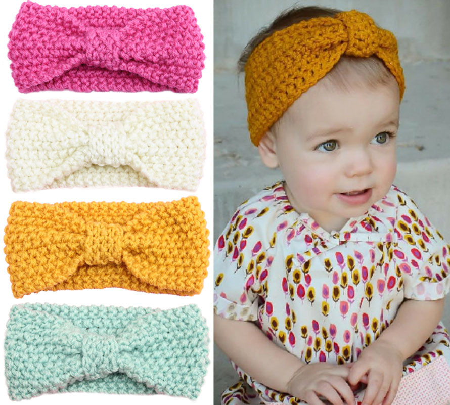 Retail Baby Toddler Crochet Knitted Headwrap Headband Winter Warmer Turban Hair Band for kids Girls Accessories Drop shipping(China (Mainland))