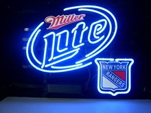 "Business NEON SIGN board For  NEW YORK RANGERS MILLER LITE  REAL GLASS Tube BEER BAR PUB Club Shop Light Signs 17*14""(China (Mainland))"