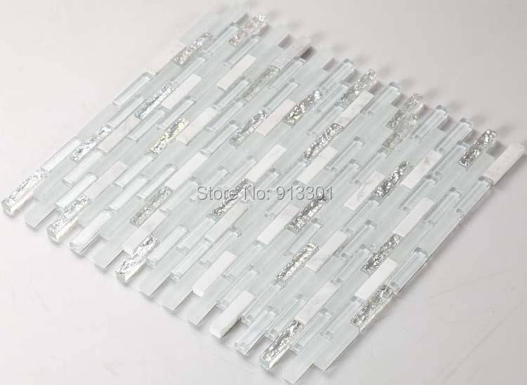Crystal Glass Tile Strip Pattern Stone Blend Wall Tiles Mosaic Tile Kitchen Backsplash Wholesale
