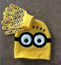Retail/Wholesale Free Shipping 2015 Children Cartoon Winter Minions Knitted Hat and Gloves Set(China (Mainland))