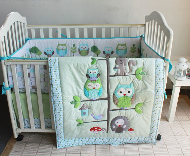 Discount! 7pcs Embroidery Appliqued Baby Cot Crib Bedding set for girl Comforter ,include(bumpers+duvet+bed cover+bed skirt)<br><br>Aliexpress