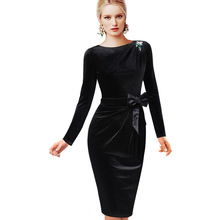 VfEmage Womens Fall Winter Elegant Velvet Bow Belted Ruched Brooch Long Sleeve Party Cocktail Wear to Work Sheath Dress 1297(China (Mainland))