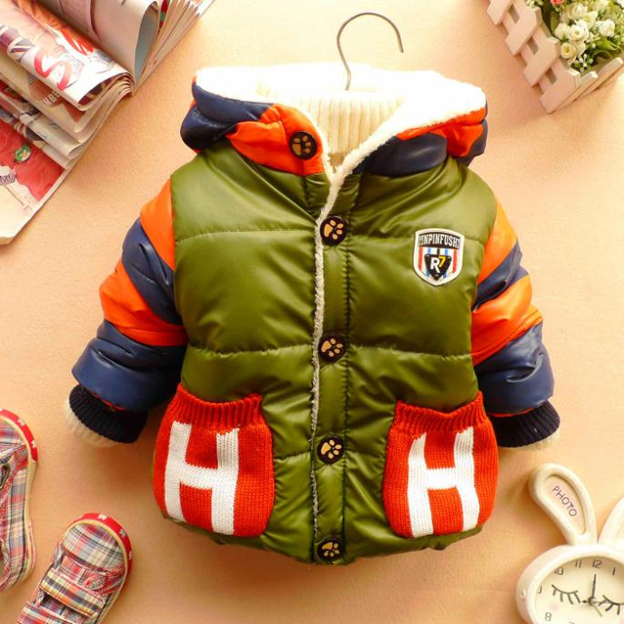 2015 New children winter outerwear baby boys thicken warm jackets hoodies fleece lining PU leather outerwear coat jackets(China (Mainland))