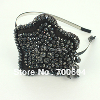 current fashion style high quality by handmade black crystal star headwear  women girl's Head bands bow accessories hairband