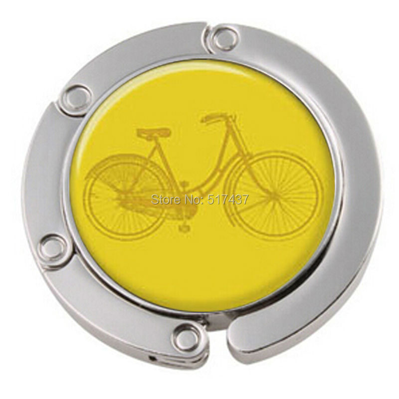 1pc Free Shipping Yellow Bicycle Purse Hook Personalized Purse Hanger Purse Bag Hangers Table Hook(China (Mainland))