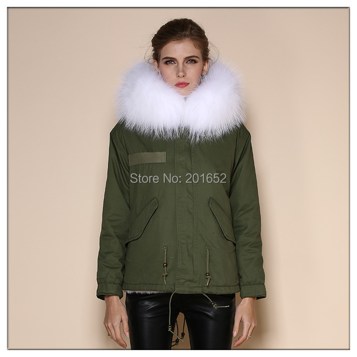 Popular Newest Hoodies Parka Women's Warm Clothing 2015 Winter mrs real white Fur coat Trim Pockets Drawstring Long Coat - Harve leger store