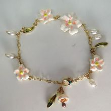 2015 Fashion accessories les copper chain oil pink lily flower pearl bracelet shipping free(China (Mainland))