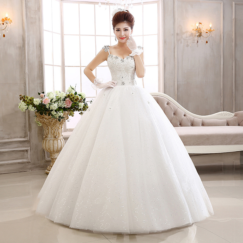 The wholesale supply manufacturers selling 2014 straps lace diamond Qi skirt the Princess Bride Wedding Dress(China (Mainland))