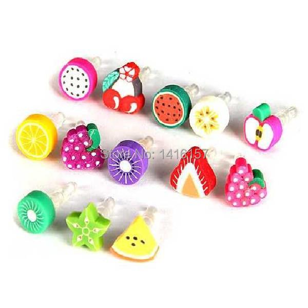 100pcs Super cute cartoon Fruits Shaped Phone Dust Plug Headphones Plug Jewelry Color Random