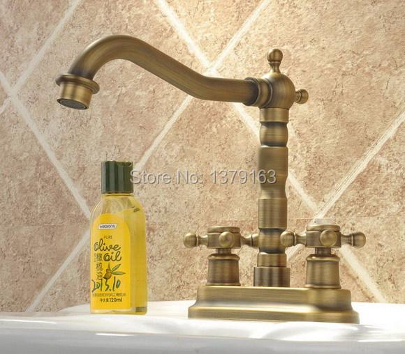 Фотография Antique Brass Deck Mounted Dual Cross Handles Bathroom Vessel Sink Basin Faucet Mixer Taps  anf036