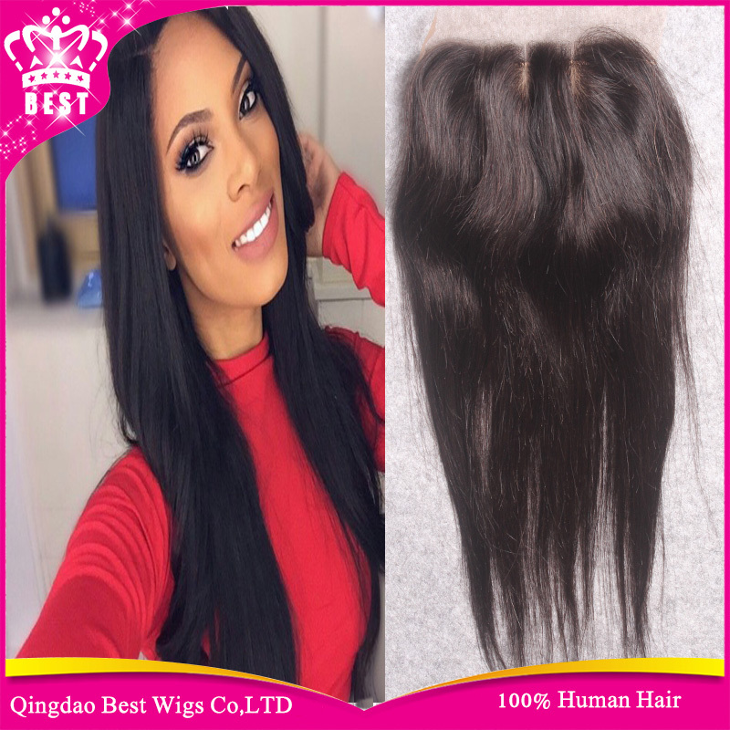 Brazilian Straight Silk Base Closure 100% Human Hair 4x4 Silk Base Lace Closure With Baby Hair Free Middle 3 Way Part free Ship<br><br>Aliexpress