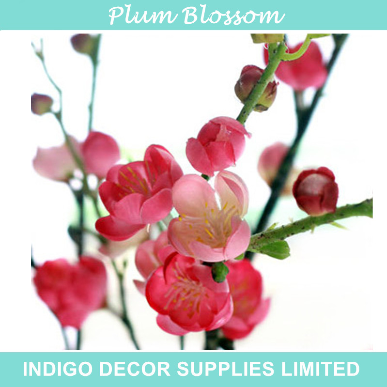 Short Chinese Plum Blossom Peach Flower Artificial Wedding Flower Party Event Fake Flower Cherry Pink Flower Free Shipping(China (Mainland))