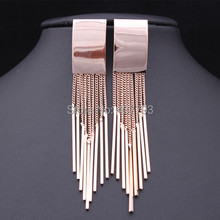 Wholesale New Jewelry 18 K Real Gold  Plated Brand Chain Tassel Rectangle Drop Earrings High Quality  E098(China (Mainland))