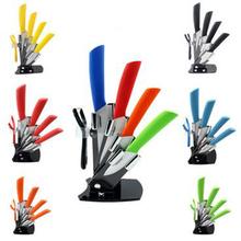 "Top quality brand new Fruit Utility 3"" 4"" 5"" 6"" inch + peeler + Acrylic Holder Block Chef Kitchen Ceramic Knife Sets(China (Mainland))"