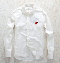 cool Japan design Comme des Garcons CDG PLAY two colors white black red heart embroidery long sleeve shirt women men blouse(China (Mainland))