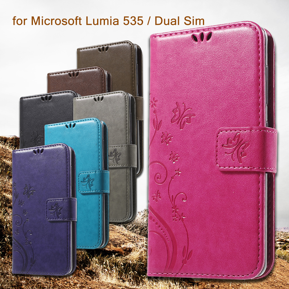 for Microsoft Lumia 535/ Dual Sim Case/Phone Bag Butterfly Leather Phone Cover/Back Shell for Lumia 535 / Dual Sim - Blue(China (Mainland))