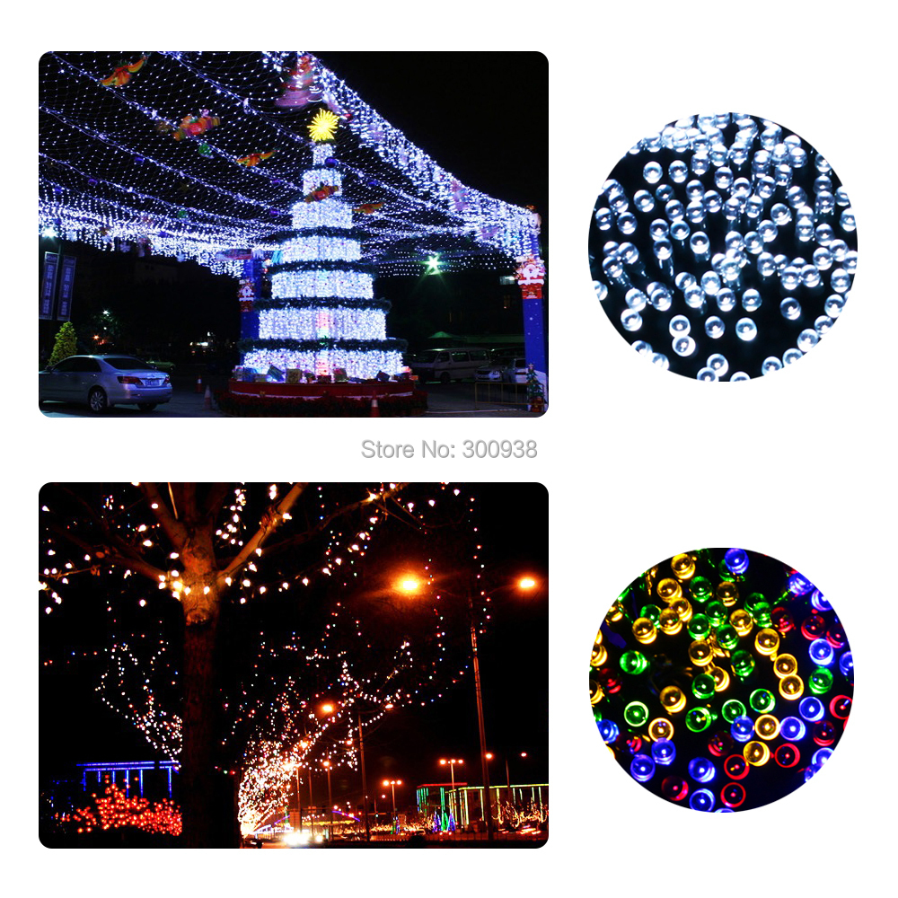 Free Ship Waterproof Solar colorful LED String Lights+RGB solar Fairy Lights LED latern Christmas Festival party Decoration Lamp(Hong Kong)