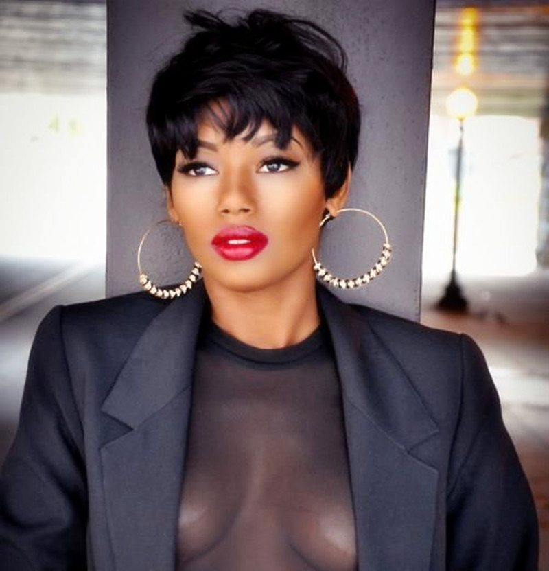 Rose Beauty hair short hair wig women synthetic straight wigs for african american Pixie cut Fast shipping black hand made wig(China (Mainland))