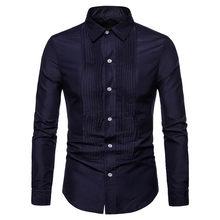 Осенне-зимняя формальная рубашка новая модная мужская Однотонная футболка с шутливой надписью индивидуальная грудь плиссированный дизайн...(China)