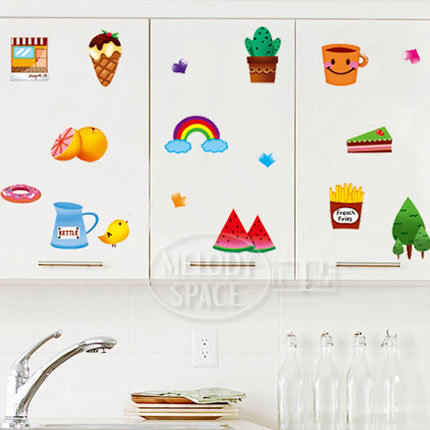 Removable wall stickers Cartoon Botany Dessert Fruits Kitchen Cupboard Background wall Home Furnishing decorative stickers(China (Mainland))
