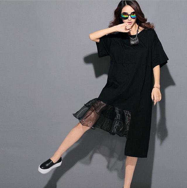 Almoda 2015 Vestidos Asymmetric Hem Women Fashion Dress O-neck Short-sleeved Pullovers Organza Ruffle Hem Flounced Dress(China (Mainland))