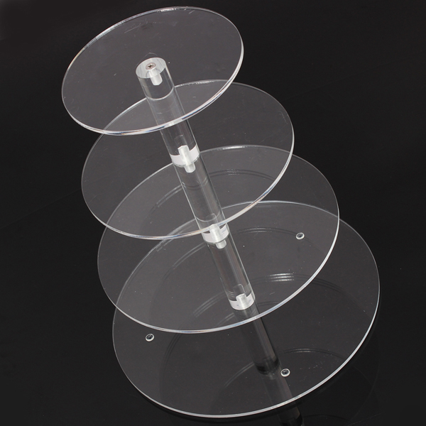 Hot Brand New Assemble and Disassemble Round Acrylic 4 Tier Cupcake Cake Stand For Birthday Wedding Party Cake Shop Home(China (Mainland))