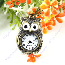Free Shipping Vintage Bronze Lovely Owl Pendant Quartz Necklace Chain Pocket Watch Gift
