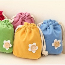 New Cute cosmetic bag flower button storage bag drawstring bag make up bag 5 colors Free Shipping