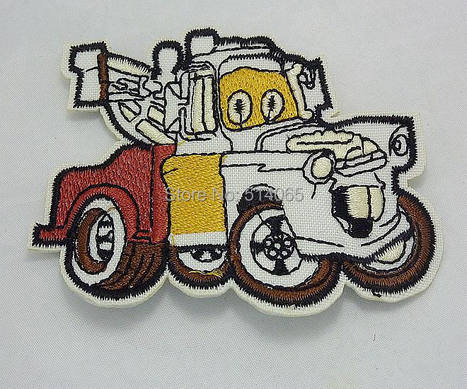 free shipping 10pcs Fabric applique patch embroidery Engineering cartoon cars White(China (Mainland))