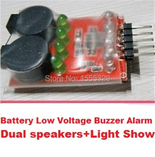 7.4V-14.8V 2S-4S Cell Lipo Battery low voltage Alarm Buzzer Dual Speaker LED indicator-Free Shipping(China (Mainland))