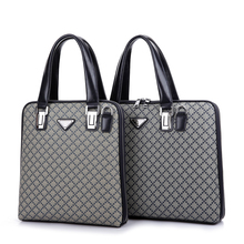 2016 Man Male Business Bag PVC Leather Laptop  Briefcase for Man Designers Brand Tote Briefcase Retro Vintage Plaid(China (Mainland))