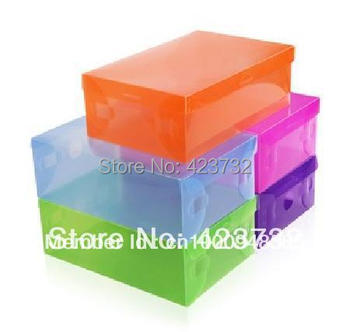 FREE SHIPPING transparent shoe storage box plastic pp clear shoe box packaging for lady shoes multicolor 20pcs/lot