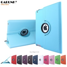 Case for iPad 2 3 4, GARUNK 360 Rotating Flip PU Leather Smart Stand Tablet Cover for iPad 2 iPad 3 iPad 4 Tablet Accessories(China (Mainland))
