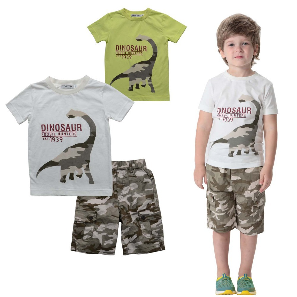 AliExpress.com Product - TOK TIC summer style boys children sets kids fashoin clothes sets cotton printed dinosaur t shirt and army shorts children suits