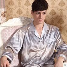 2014 summer vertical dot pajamas emulation silk pajamas long-sleeved pants the man household to take big yards(China (Mainland))