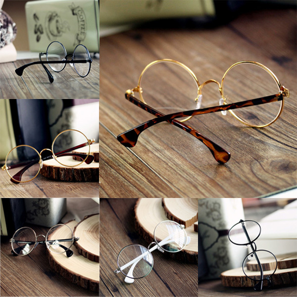 Top Selling For Unisex Retro Round Nerd Glasses Metal Frame Clear Lens Spectacles Eyeglass Drop Shipping(China (Mainland))